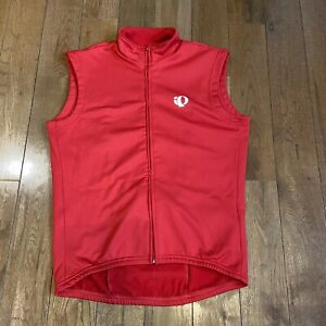 Mens Pearl Izumi Cycling Vest Full Zip Red White Made in USA sz M