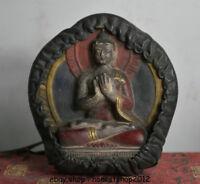 "4.4 ""Tibetische Malerei Leder Shakyamuni Amitabha Buddha Ghau Box"