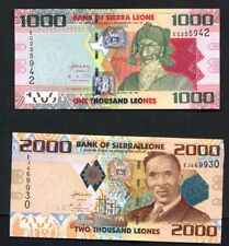 SIERRA LEONE - 2010 to 2013 Full Set 1000, 2000, 5000 and 10000 Leones  UNC