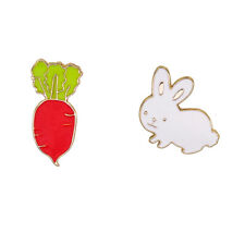 Denim Jacket Pin Badge Fashion Jewelry Cute Cartoon Carrot Rabbit Enamel Brooch