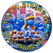 "THE SMURFS & SMURFETTE FUN PARTY - 7.5"" PERSONALISED EDIBLE ICING CAKE TOPPER"