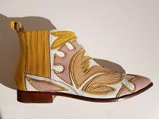 Melvin & Hamilton Damen Leder Chelsea Boots Farbe weiß-altrosa-gelb Größe 42 NEU