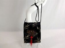 Mini Satin Festival Cross Body Bag 8' x 6' Oriental Floral Fan Design