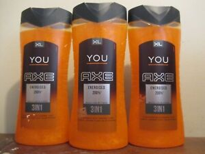 Lot of 3 AXE you energized (same scent as Fever) Body wash, shampoo, face 400 ml