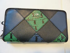 NWT Coach Snake Patchwork Accordion Zip Leather Wallet F57591-Midnight/Multi