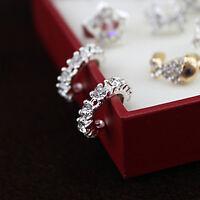 2X Women Silver Ear Cuff Crystal Rhinestone Wrap Cartilage Clip On Studs Earring