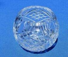 Vintage Clear Lead Crystal Rose Bowl Diamond and Fan Pattern