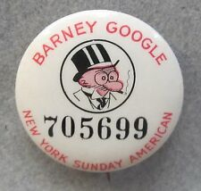 30's BARNEY GOOGLE N.Y Sunday American comic strip pinback button w/ back paper