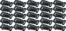 """Black Jumbo Plastic Side Release Paracord Buckle 1"""" With Whistle - 25 Pack"""