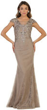 Long Sleeves Mother of The Bride Groom Dress Covered Formal Evening Gown Silver 2xl