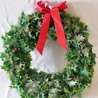 Vtg Christmas Wreath Holly Leaves Flocked Plastic Fantastic MCM