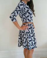 Club L Women's Navy Floral Dress With Belt, Size 12 - Brand New With Tags
