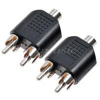 2 Pcs RCA Y Splitter Plug 1 Female to 2 Male Converter Adapter 3.5mm