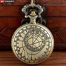 Vintage Quartz Pocket Watch Bronze Space Time Pendant Chain Necklace Antique New