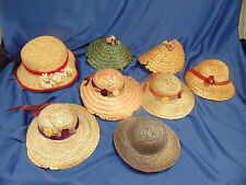Doll straw hats 8 various colors ribbons flowers play dress up make believe fun