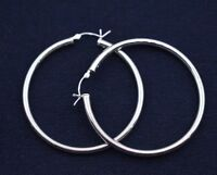 """3mmX50mm 2"""" Large Plain Polished Round Hoop Earrings Real 925 Sterling Silver"""