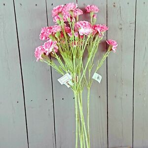6x Artificial Carnation Flower Sprays - Yellow or Pink