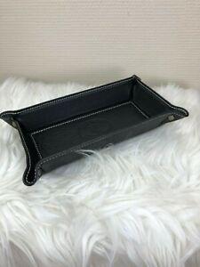 Leder Made in Italy Taschenleerer schwarz Lederschale Ablageschale länglich