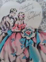 1938 Vtg Romantic Couple PINK Dress Ribbon SWEETHEART VALENTINE GREETING CARD