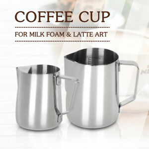 Stainless Steel Milk Frothing Pitcher Cup Jug 350ML/600ML Inner Scale Latte Art