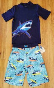 NWT Boys Shark w/ Surfboard Rashguard & Board Short 2-Pcs Swim Set Medium 10/12