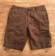 Lands' End Mens' Size 32  Classic Dark Olive Green Heavy Cotton Cargo Shorts