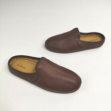 LL Bean Elkhide Scuffs Slip on Slippers 12 Brown Leather  272349 Shoes