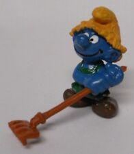 VINTAGE! 1983 Schleich Smurfs PVC Figure 20138-Haymaker Smurf w/ Brown Hat