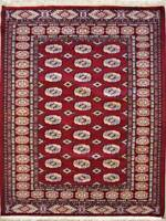 Rugstc 4x6  Bokhara Jaldar Red Area Rug,Genuine Hand-Knotted, Silk/Wool Pile