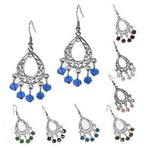Fashion Dangle Antiqued Silver Filigree Chandelier Earrings Assorted Colors