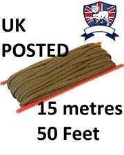 KOMBAT UK PARACORD PARACHUTE PARA CORD GREEN 15M 50FT 50' HEAVY DUTY 3mm Bivi TA