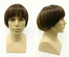 Bowl Cut Mens Heat Resistant Wig Beatles Short Straight Brown Highlights