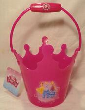 DISNEY PRINCESS, GIRLS PINK SPARKLES PLASTIC GARDEN BUCKET W/ HANDLE, NEW