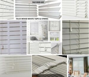 Faux Wood Blind Fauxwood Wooden Venetian Window Blinds Trimmable, White and Grey