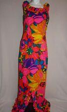 Vtg Andrade Resort Shops Honolulu Hawaii Maxi Dress Vibrant Floral Size 4