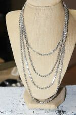 """Rare Vintage extra long 40"""" solid sterling silver woven flat link chain necklace"""