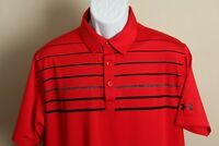 Under Armour Men's red, black and gray detailed short sleeve golf polo shirt L