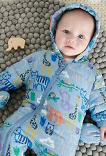 NEXT BABY BOYS BLUE ANIMAL PRINT SNOWSUIT ALL IN ONE  PRAMSUIT SIZE 3-6MTH BNWT