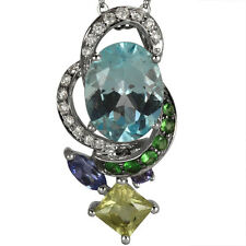 Multi Color Gemstones  Diamond Pendant 18K White Gold