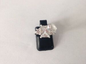 """STUNNING! STERLING SILVER CLR E/C CZ  RING SIZE """"L"""""""