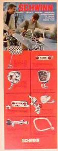 1972 Schwinn Bike Accessories~Parts~Checkerboard Mirror Boy & Dad Bicycle AD