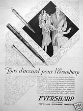 PUBLICITÉ 1928 EVERSHARP TOUS D'ACCORD PORTE PLUME STYLOPHORE PORTEMINE