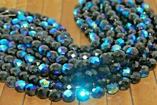 New 25 Pieces Fine Czech Fire Polish Crystal Beads - Jet AB - 10mm - CG634