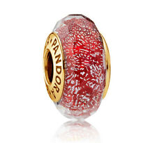 Genuine PANDORA Red Shimmer Murano Glass Charm 14K Gold Vermeil 791654