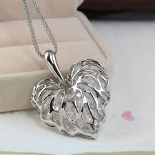 Fashion Hollow Heart Gold Silver Crystal Rhinestone Pendant Long Chain Necklace