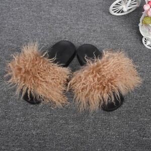 Real Mongolian Lamb Fur Slide New Fashion Summer Slipper Women Flat Slide 66041
