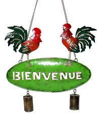 Pancarte Panneau Bienvenue Écriteau Pancarte Fer Forgé Métal Original Coq Ferme