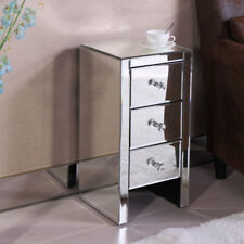 Modern Hollywood Regency Glamour Style Mirrored 3-Drawer Nightstand End Table