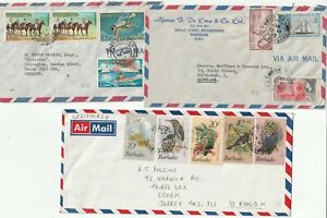 1958/84 3 BARBADOS COMMERCIAL COVERS TO UK 12 STAMPS (11 DIFFERENT) DEVON SURREY