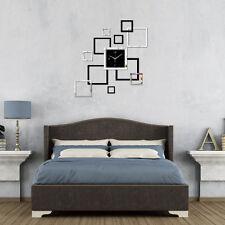Modern DIY Large Wall Clock Home Office Room Decor 3D Mirror Surface Sticker